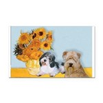 Sunflowers/PBGV + Wheaten T Rectangle Car Magnet