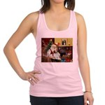 Santa & His Brittany Racerback Tank Top