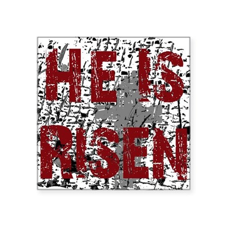 "risen1.png Square Sticker 3"" x 3"""