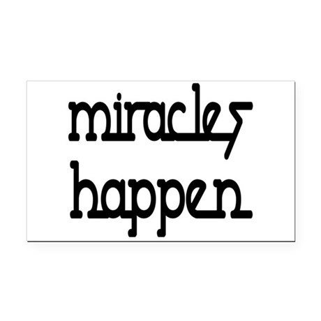 Miracles Happen Rectangle Car Magnet