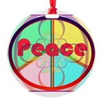 Abstract Peace Sign Round Ornament