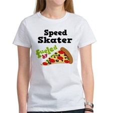 Speed Skater Funny Pizza Tee