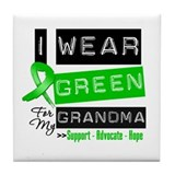 I Wear Green Ribbon For My Grandma Tile Coaster