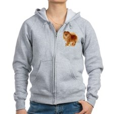 Pomeranian head dog art Zip Hoodie
