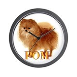 Pomeranian head dog art Wall Clock
