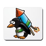 flying comic rocket penguin astronaut space Mousep