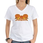 Halloween Pumpkin Addison Women's V-Neck T-Shirt