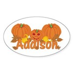 Halloween Pumpkin Addison Sticker (Oval)