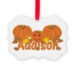 Halloween Pumpkin Addison Picture Ornament