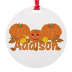 Halloween Pumpkin Addison Round Ornament