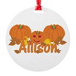 Halloween Pumpkin Allison Round Ornament