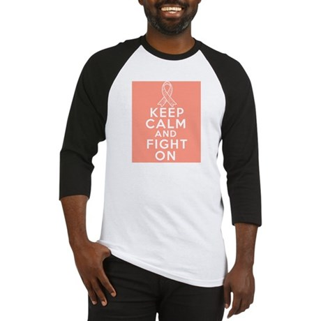 Uterine Cancer Keep Calm Fight On Baseball Jersey