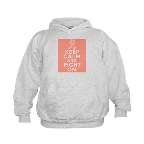 Uterine Cancer Keep Calm Fight On Kids Hoodie