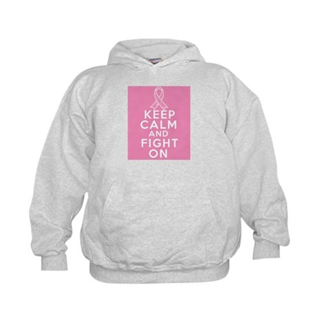 Breast Cancer Keep Calm Fight On Kids Hoodie