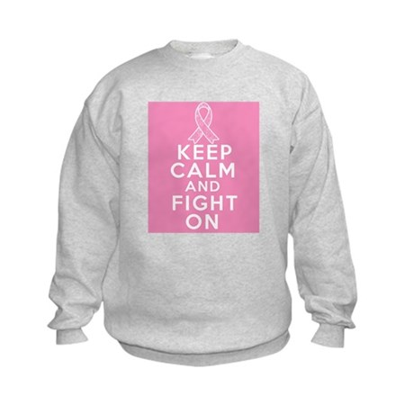Breast Cancer Keep Calm Fight On Kids Sweatshirt