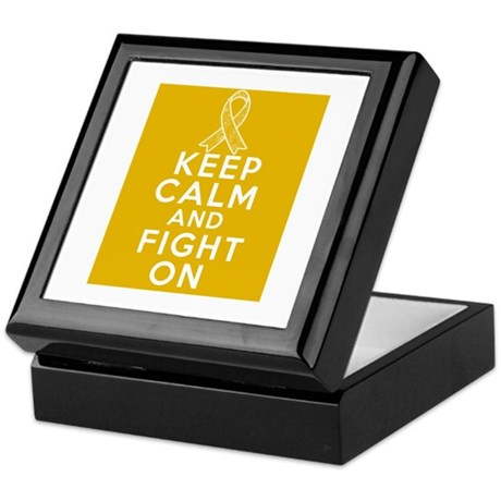 Appendix Cancer Keep Calm Fight On Keepsake Box