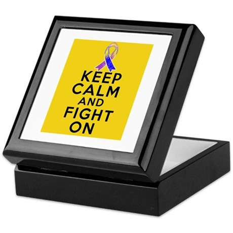Bladder Cancer Keep Calm Fight On Keepsake Box