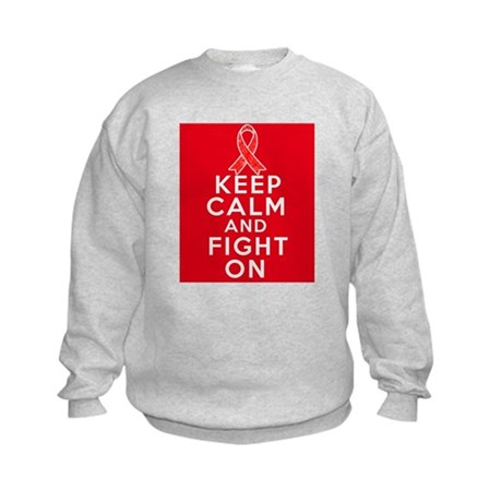 Blood Cancer Keep Calm Fight On Kids Sweatshirt