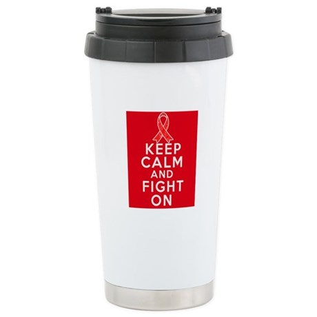 Blood Cancer Keep Calm Fight On Ceramic Travel Mug