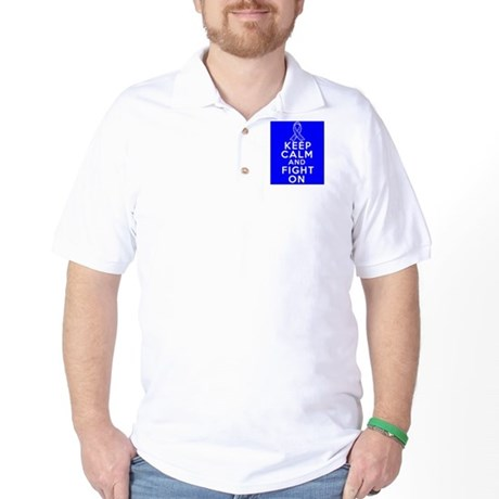 Colon Cancer Keep Calm Fight On Shirts Golf Shirt
