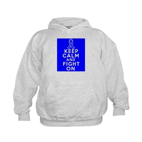 Colon Cancer Keep Calm Fight On Shirts Kids Hoodie