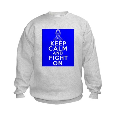 Colon Cancer Keep Calm Fight On Shirts Kids Sweats