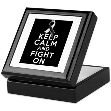 Carcinoid Cancer Keep Calm Fight On Keepsake Box
