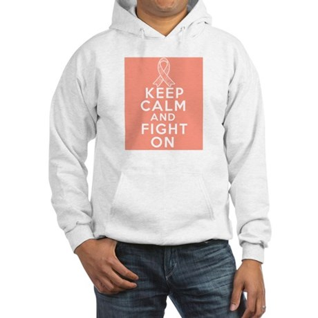 Endometrial Cancer Keep Calm Fight On Hooded Sweat
