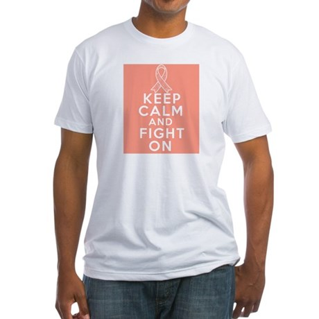 Endometrial Cancer Keep Calm Fight On Fitted T-Shi