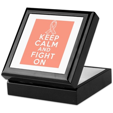Endometrial Cancer Keep Calm Fight On Keepsake Box