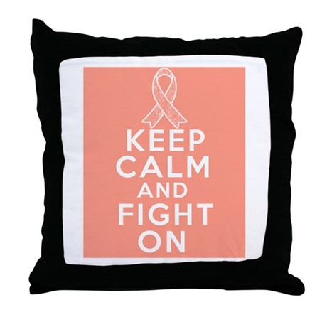 Endometrial Cancer Keep Calm Fight On Throw Pillow