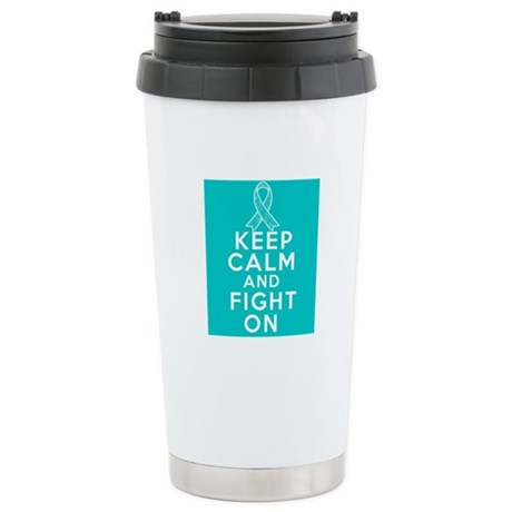 Gynecologic Cancer Keep Calm Fight On Ceramic Trav