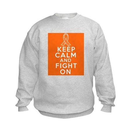 Kidney Cancer Keep Calm Fight On Kids Sweatshirt
