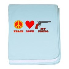 Peace Love My Pistol baby blanket