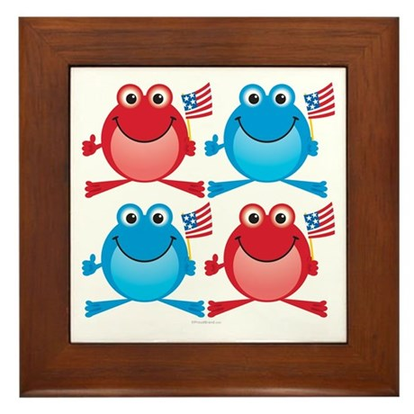Four Freedom Frogs: Framed Tile