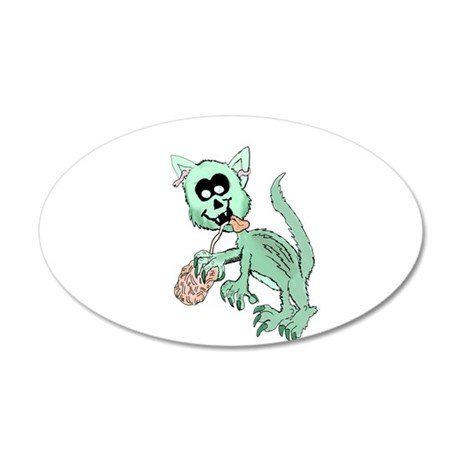 Zombie Cat 35x21 Oval Wall Decal