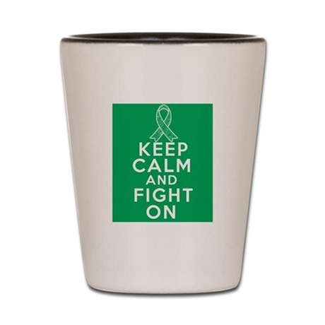 Liver Cancer Keep Calm Fight On Shot Glass