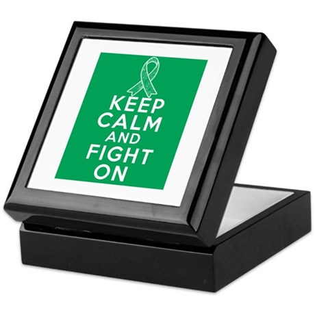 Liver Cancer Keep Calm Fight On Keepsake Box