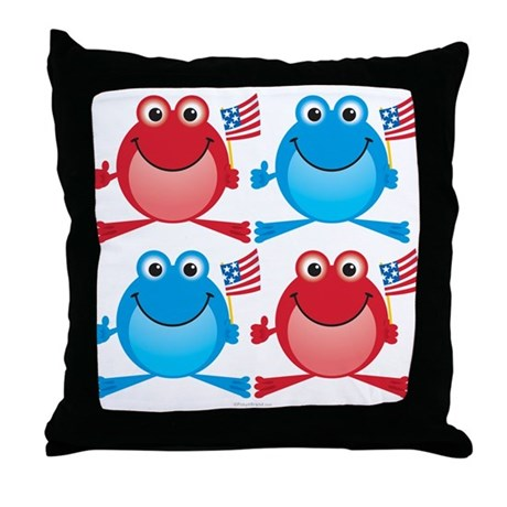 Four Freedom Frogs: Throw Pillow