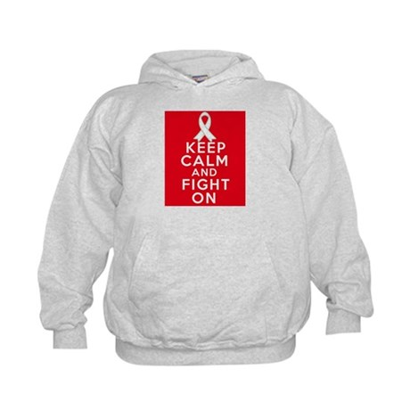 Lung Cancer Keep Calm Fight On Kids Hoodie
