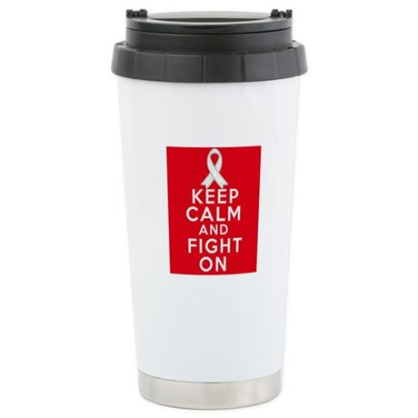 Lung Cancer Keep Calm Fight On Ceramic Travel Mug