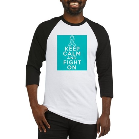 Ovarian Cancer Keep Calm Fight On Baseball Jersey