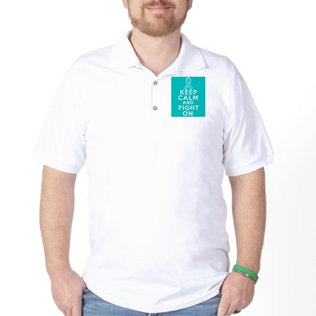 Ovarian Cancer Keep Calm Fight On Golf Shirt
