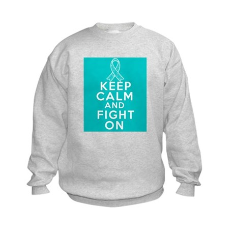 Ovarian Cancer Keep Calm Fight On Kids Sweatshirt