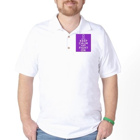 Pancreatic Cancer Keep Calm Fight On Golf Shirt