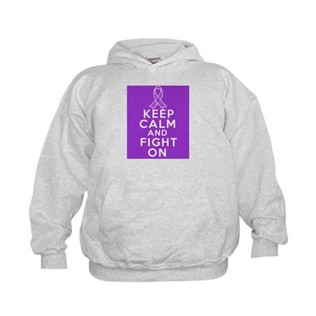 Pancreatic Cancer Keep Calm Fight On Kids Hoodie