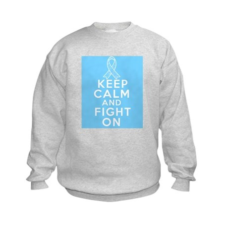 Prostate Cancer Keep Calm Fight On Kids Sweatshirt