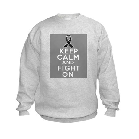 Skin Cancer Keep Calm Fight On Kids Sweatshirt