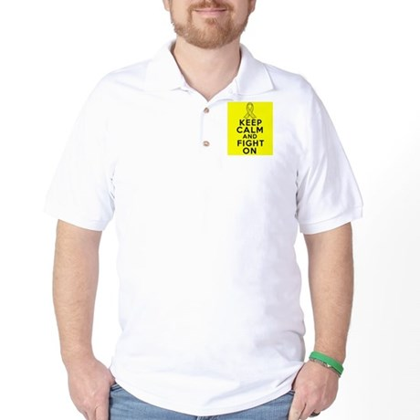 Testicular Cancer Keep Calm Fight On Golf Shirt