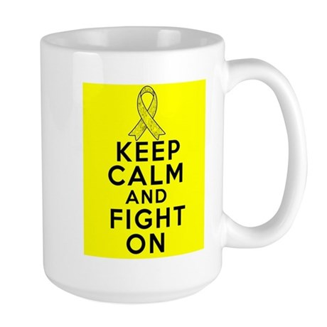 Testicular Cancer Keep Calm Fight On Large Mug